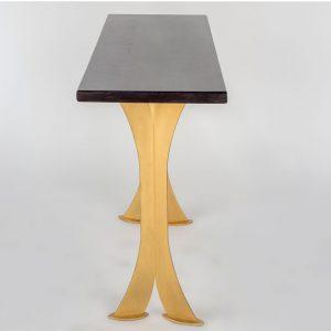 Split Leg Sofa Table (Black w/ gold legs)