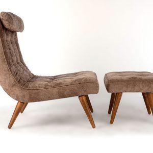 1930 Martin Bark Lounge Chair and Ottoman