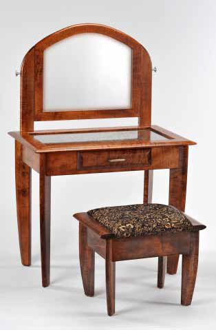 Tiger Maple Vanity and Stool