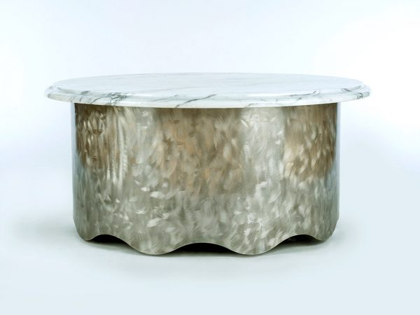 Round Marble Table w/ Wave Base