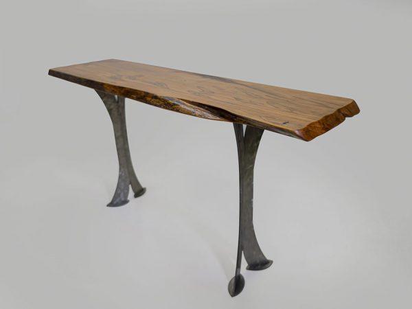 Split Leg Sofa Table (Honey w/ silver legs)